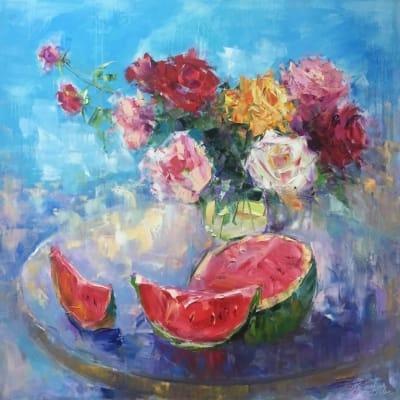 Картина с цветами «Летний натюрморт» купить живопись для современных интерьеров Украина