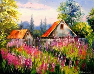 Картина маслом «Летом в деревне» - живопись для современных интерьеров Украина