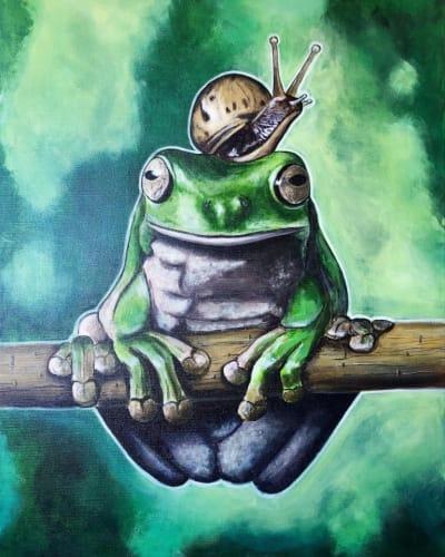 Картина акрил анималистика «Лягушка» купить живопись для современных интерьеров Украина