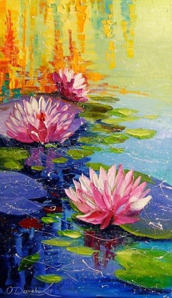 Картина маслом цветы «Лилии в пруду» купить живопись для современных интерьеров Киев