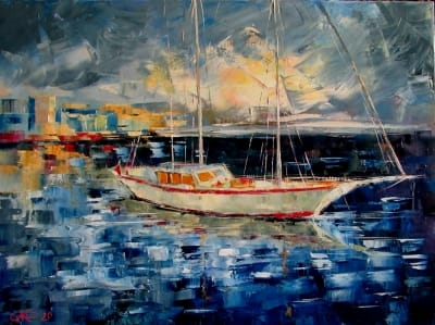 Картина маслом морской пейзаж «Лодка» купить живопись для современных интерьеров Киев