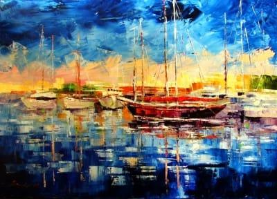 Картина маслом морской пейзаж «Лодки» купить живопись для современных интерьеров Украина