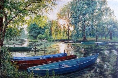 Картина маслом летний пейзаж «Лодки» купить современную живопись Украина