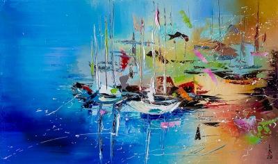 Картина маслом морской пейзаж «Лодки на берегу» купить живопись для современных интерьеров Украина