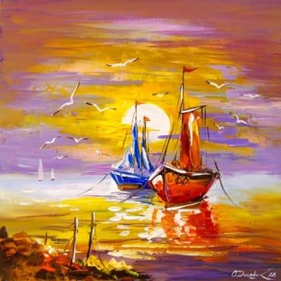 Картина «Лодки на рейде»