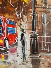 Картина маслом городской пейзаж «День в Лондоне» купить живопись для современных интерьеров Украина