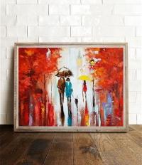 Картина маслом городской пейзаж «Вечерний Париж» купить живопись для современных интерьеров Украина