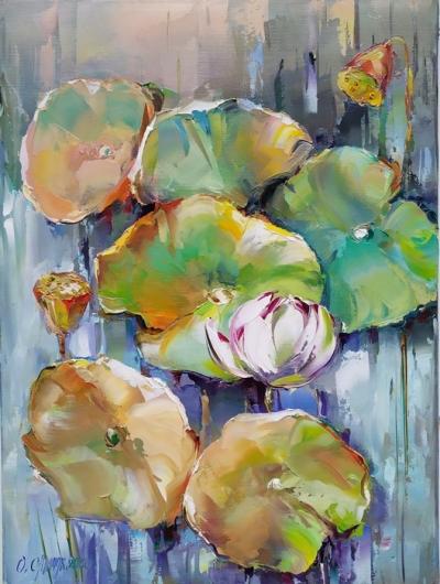 Картина маслом цветы «Лотос» купить современную живопись Украина