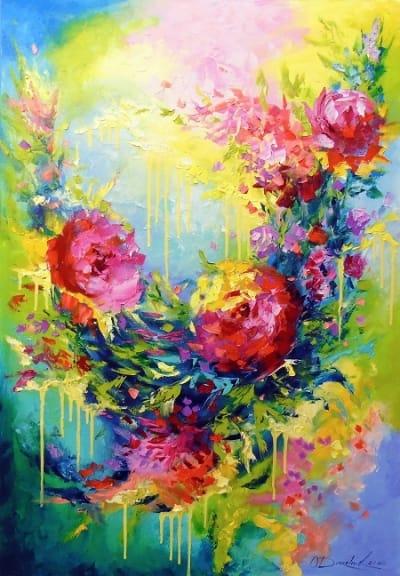 Абстрактная картина «Любовная энергия» купить живопись для современных интерьеров Украина