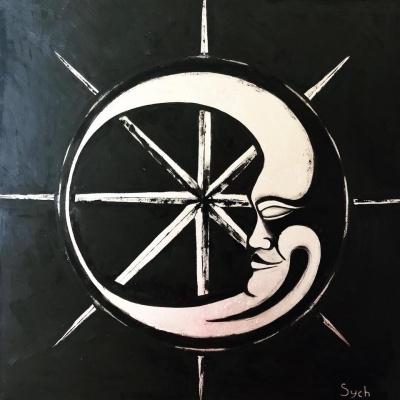 Картина маслом «Луна» купить живопись для современных интерьеров Киев