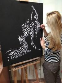 Картина абстракция маслом «Лунный свет» живопись для современных интерьеров Украина