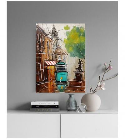 Картина маслом городской пейзаж «Старый город. Львов» купить живопись для современных интерьеров Украина