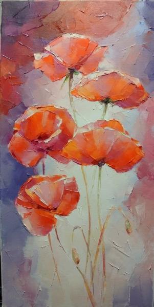 Картина с цветами «Маки» купить живопись для современных интерьеров Украина