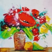 Картина цветы «Красные маки» купить живопись для современных интерьеров Киев