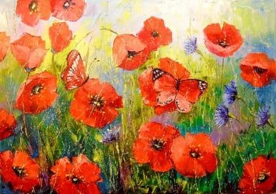 Картина «Маки и бабочки»