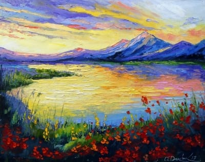 Картина маслом природа пейзаж «Маки у озера» - купить живопись для современных интерьеров Украина