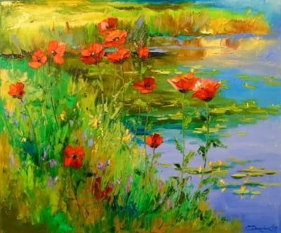 Картина маслом цветы «Маки у пруда» - купить живопись для современных интерьеров Украина