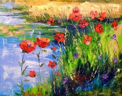 Картина маслом цветы «Маки у пруда» купить живопись для современных интерьеров Украина
