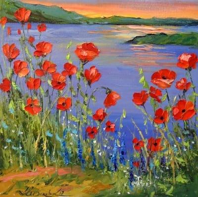 Картина маслом цветы «Маки у реки» купить живопись для современных интерьеров Украина