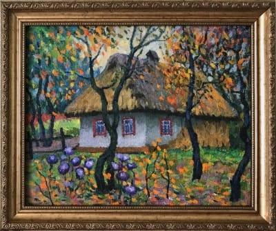Картина «Мамина хата» - купить живопись для современных интерьеров Украина - пейзаж сельский