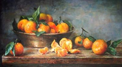 Картина натюрморт «Мандарины» купить живопись для современных интерьеров Киев