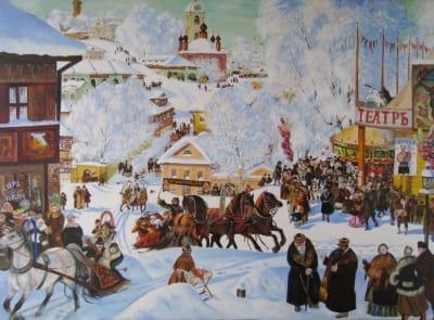 Картина «Масленица» копия Бориса Кустодиева