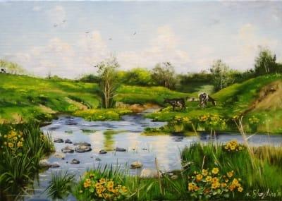 Картина пейзаж «Майский день» купить живопись для современных интерьеров Украина