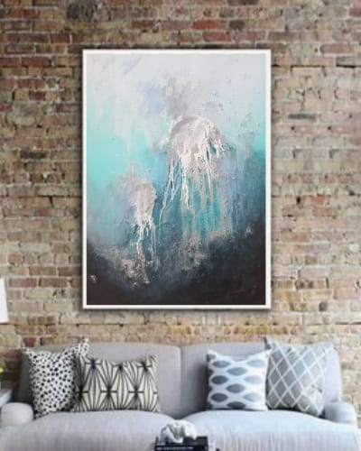 Абстракция картина маслом море медузы «Из глубины» картины для современных интерьеров Украина 2