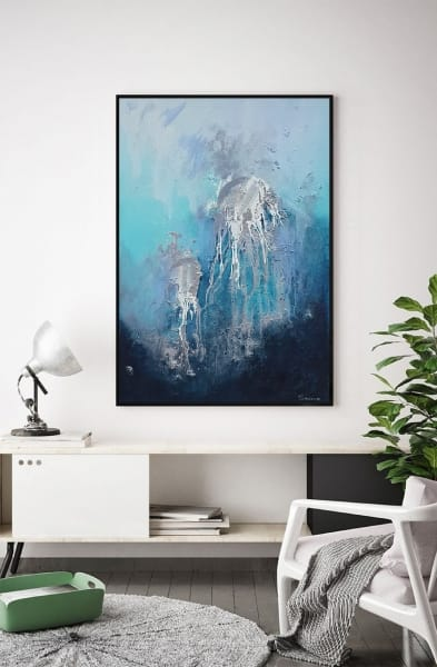 Абстракция картина маслом море медузы «Из глубины» картины для современных интерьеров Киев