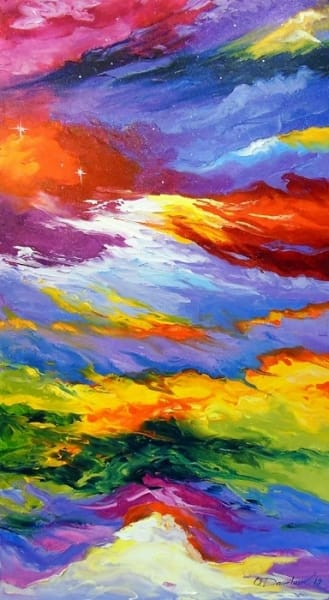 Абстрактная картина маслом «Между небом и землей» купить живопись для современных интерьеров Украина
