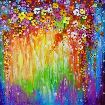 Картина маслом «Мелодия цветов» купить живопись для современных интерьеров Украина