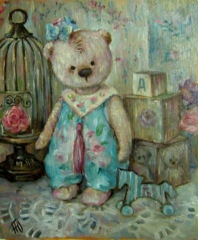 Картина детская тематика «Мишутка с лошадкой» купить живопись для современных интерьеров Украина