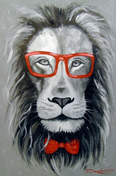 Абстрактная картина «Модный лев» купить живопись для современных интерьеров Украина