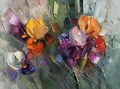 Картина маслом цветы «Утро» купить живопись Украина