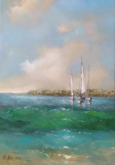 Картина маслом морской пейзаж «Морской бриз» купить живопись Украина