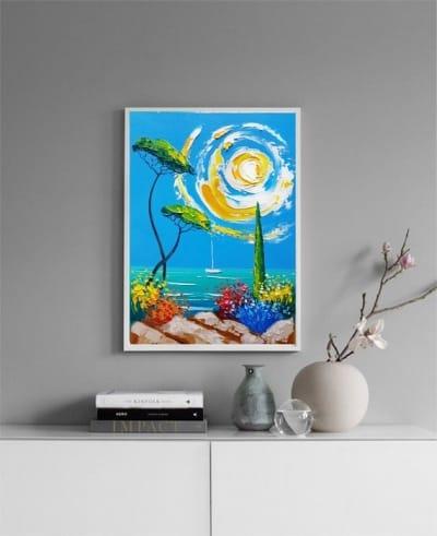 Картина маслом «Морской пейзаж» купить живопись для современных интерьеров Киев