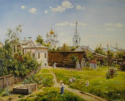 Картина пейзаж «Московский дворик» купить живопись для современных интерьеров Украина