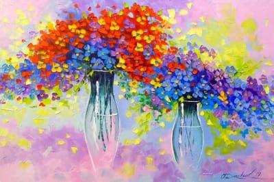 Картина маслом абстракция «Музыка цветов» - купить живопись для современных интерьеров Украина