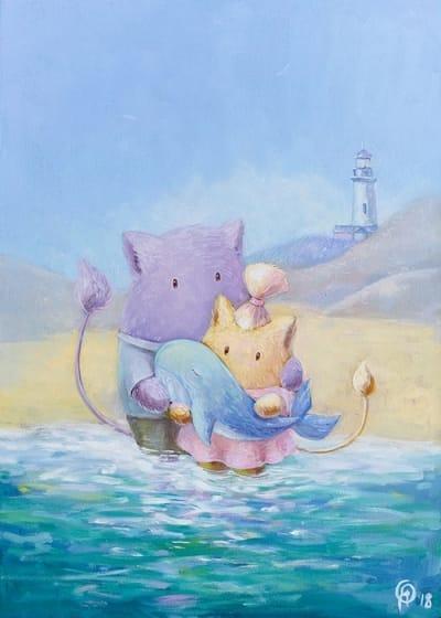 Картина для детской комнаты «На берегу нашего с тобой моря» купить картину маслом Киев