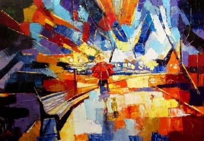 Картина маслом абстракция «На прогулке» - живопись для современных интерьеров Украина