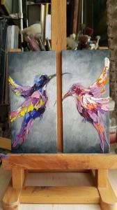 Картина птицы «На расстоянии» картины для современных интерьеров Киев