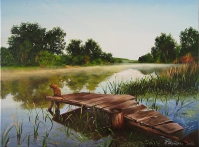 Картина пейзаж «На рыбалке» купить живопись для современных интерьеров Украина