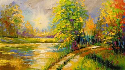 Картина «На закате у реки»