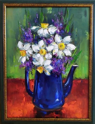 Картина цветы «Нарциссы» купить живопись для современных интерьеров Киев