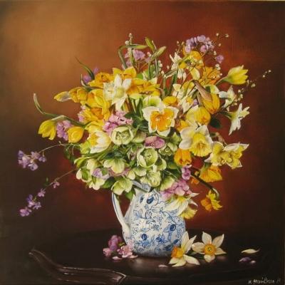 Картина цветы «Нарциссы» купить живопись для современных интерьеров Украина