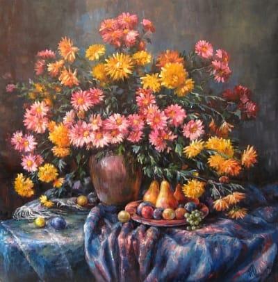Картина натюрморт «Натюрморт с хризантемами» купить живопись для современных интерьеров Украина