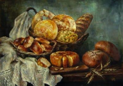 Картина натюрморт «Натюрморт с хлебом» купить живопись для современных интерьеров Киев