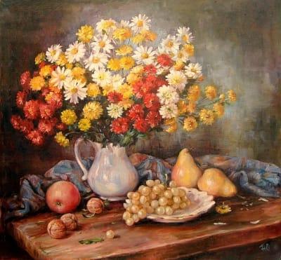 Картина «Натюрморт с хризантемами» - картины для современных интерьеров Украина - живопись натюрморт