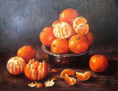 Картина «Натюрморт с мандаринами» купить живопись для современных интерьеров Киев
