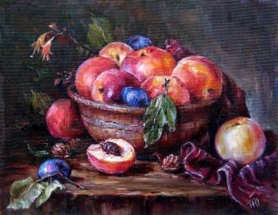 Картина «Натюрморт с персиками» купить современную живопись для интерьеров Украина